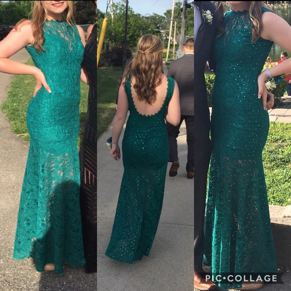 Emerald Green Long Sparkly Prom Dress!